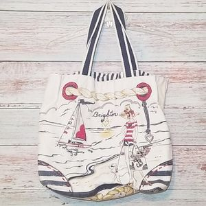 Brighton Tote Bag Inside Pocket with zipper white